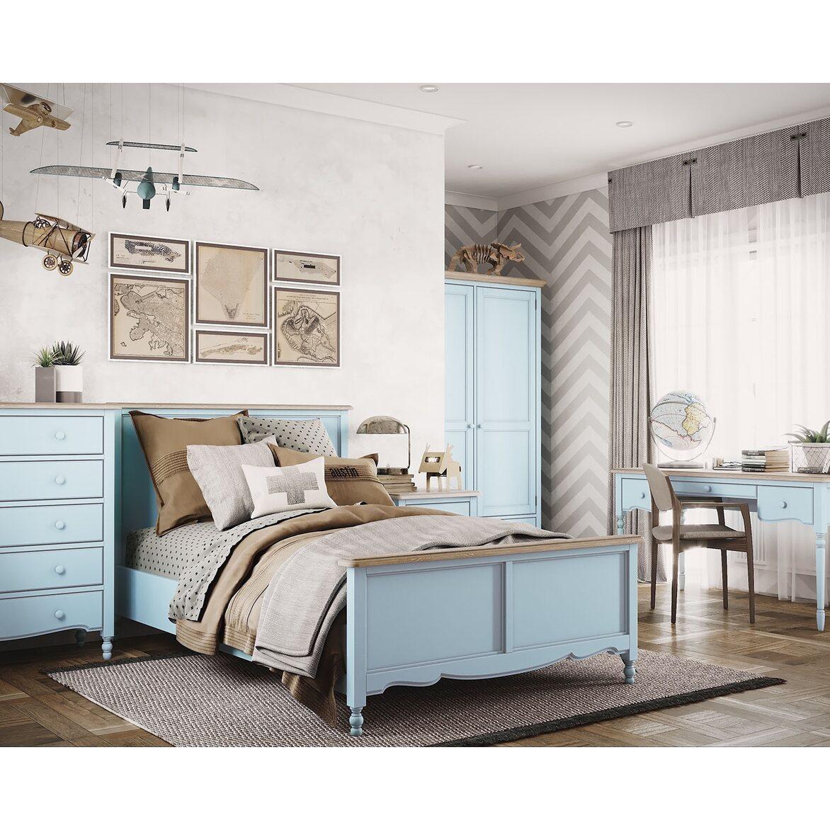 Письменный стол с 3-я ящиками Leblanc, голубой 2 | Письменные столы Kingsby