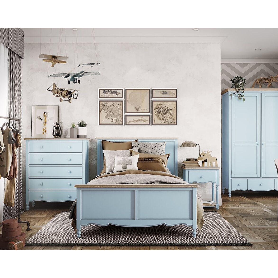 Кровать односпальная 120*200 Leblanc, голубая 3 | Односпальные кровати Kingsby