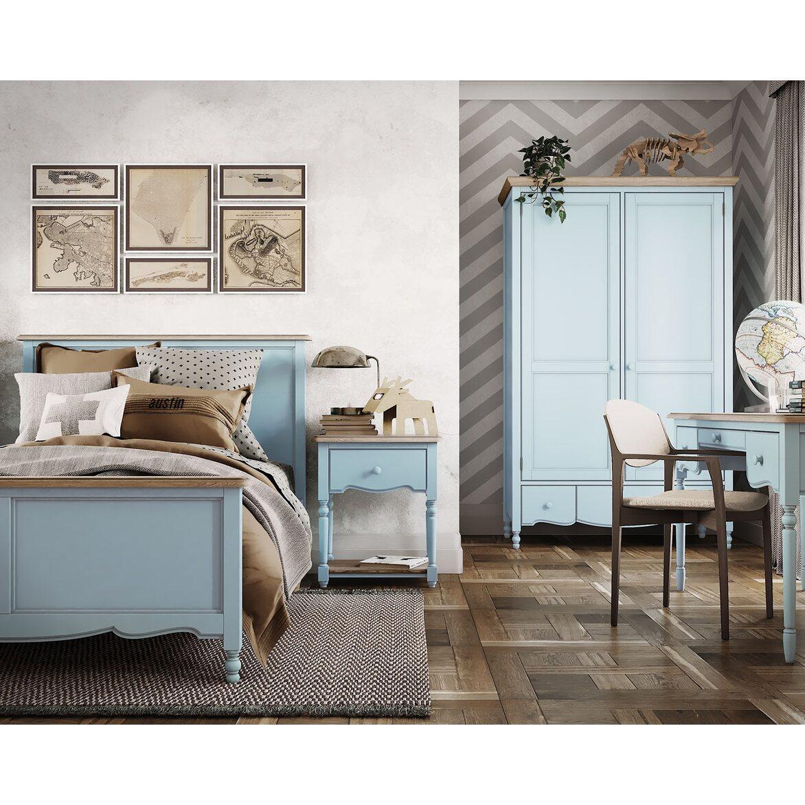 Кровать односпальная 120*200 Leblanc, голубая 4 | Односпальные кровати Kingsby