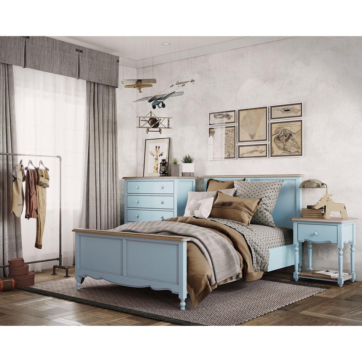 Кровать односпальная 120*200 Leblanc, голубая 5 | Односпальные кровати Kingsby