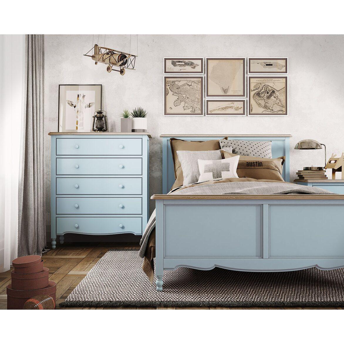 Кровать односпальная 120*200 Leblanc, голубая 6 | Односпальные кровати Kingsby