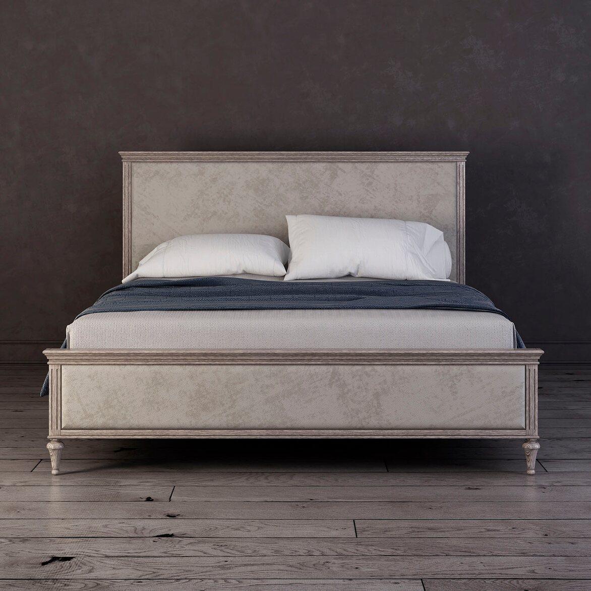 Кровать с мягким изголовьем 160*200 Riverdi, светлый дуб | Двуспальные кровати Kingsby