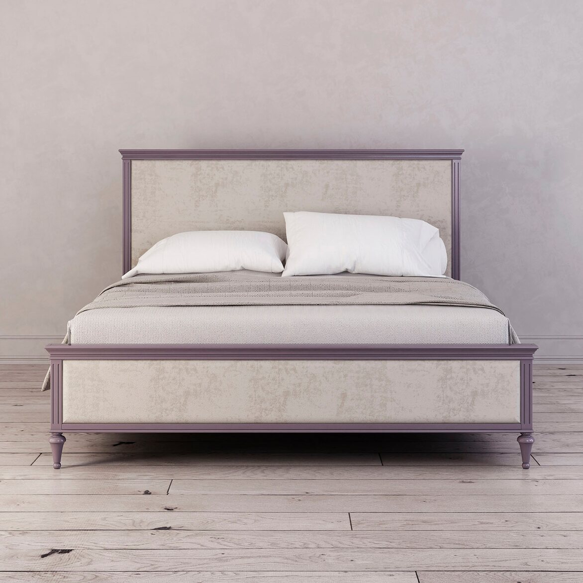 Кровать с мягким изголовьем 160*200 Riverdi, орхидея | Двуспальные кровати Kingsby