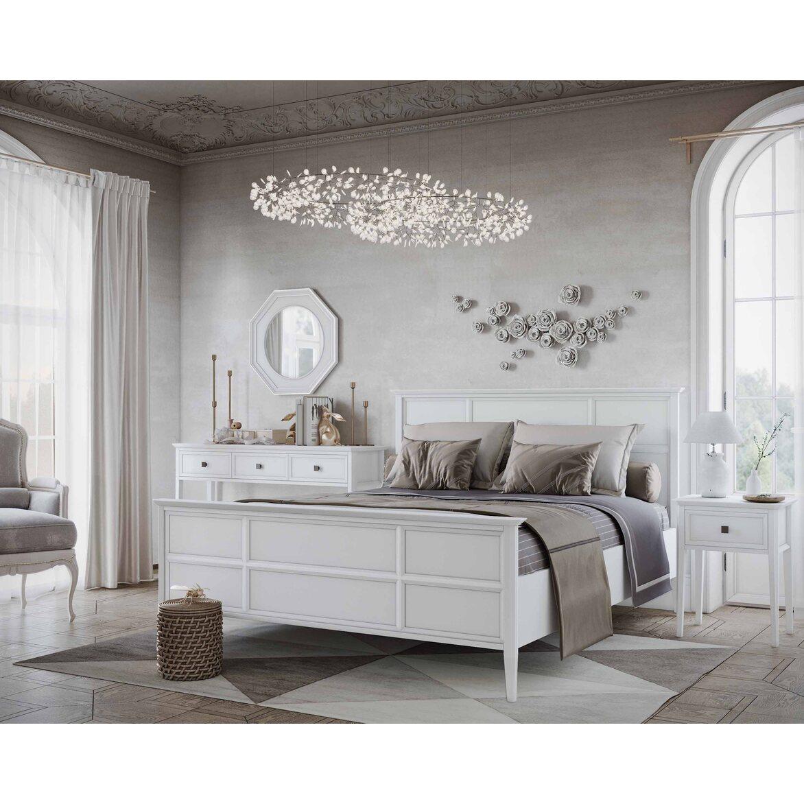 Кровать Ellington, белая, с изножьем 4 | Двуспальные кровати Kingsby