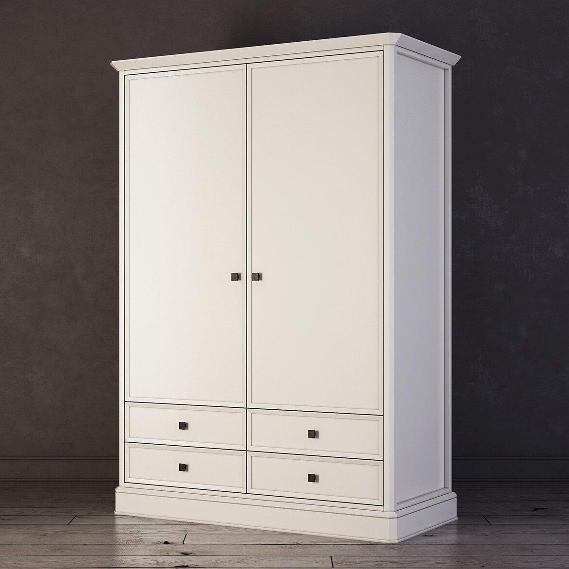 Шкаф двухстворчатый с ящиками Ellington, белый 2 | Платяные шкафы Kingsby