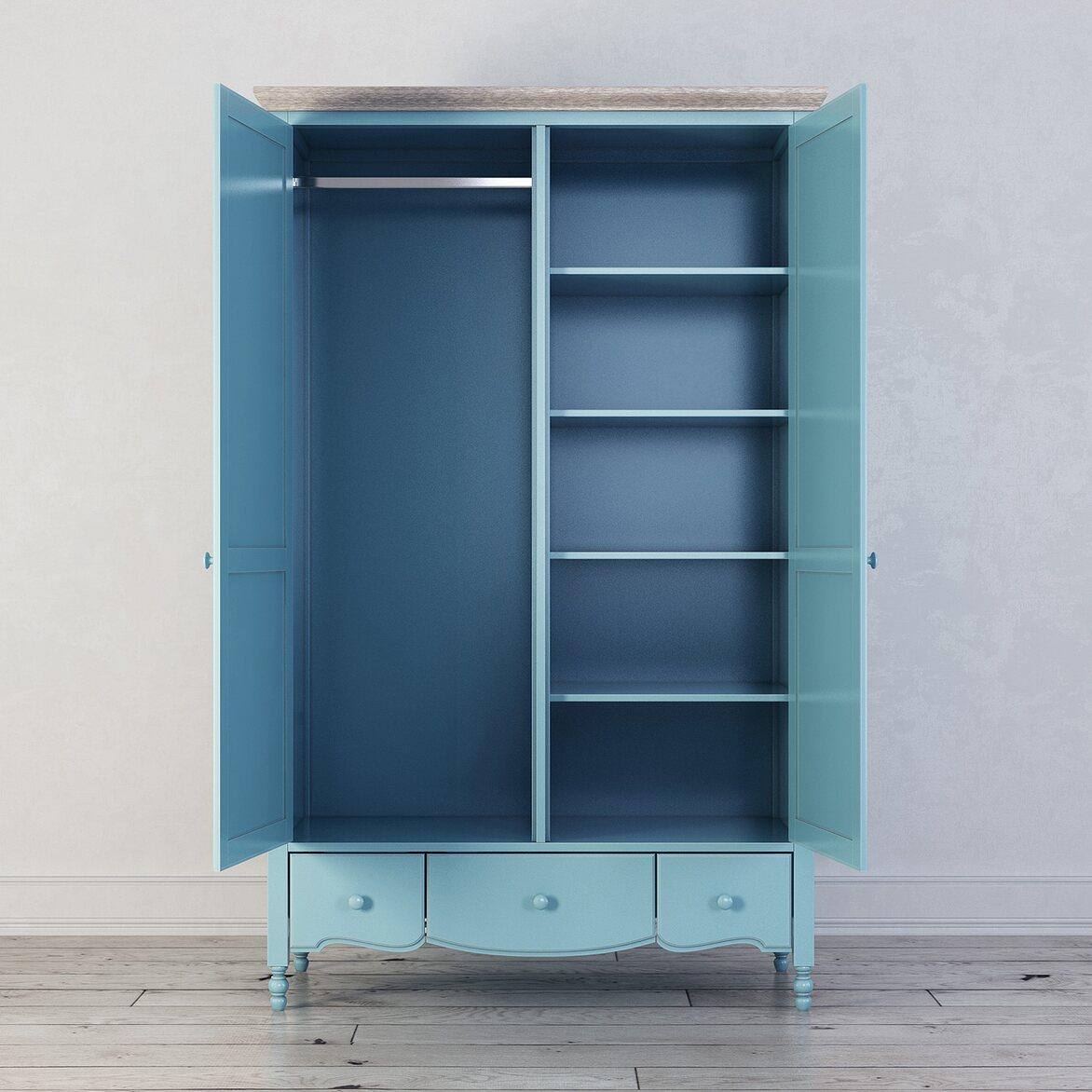 Шкаф двухстворчатый Leblanc, голубой 2 | Платяные шкафы Kingsby
