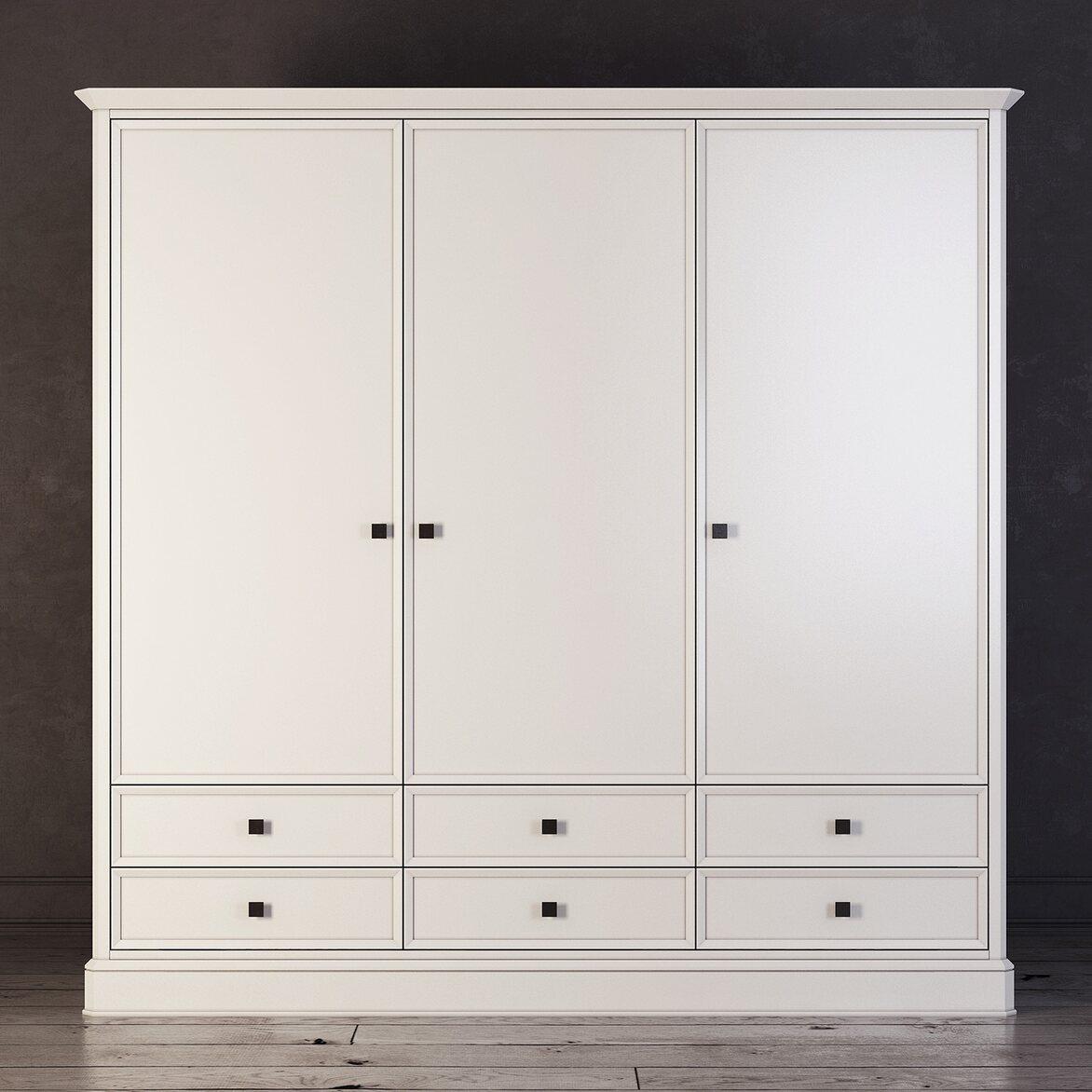 Шкаф трехстворчатый с ящиками Ellington, белый | Платяные шкафы Kingsby