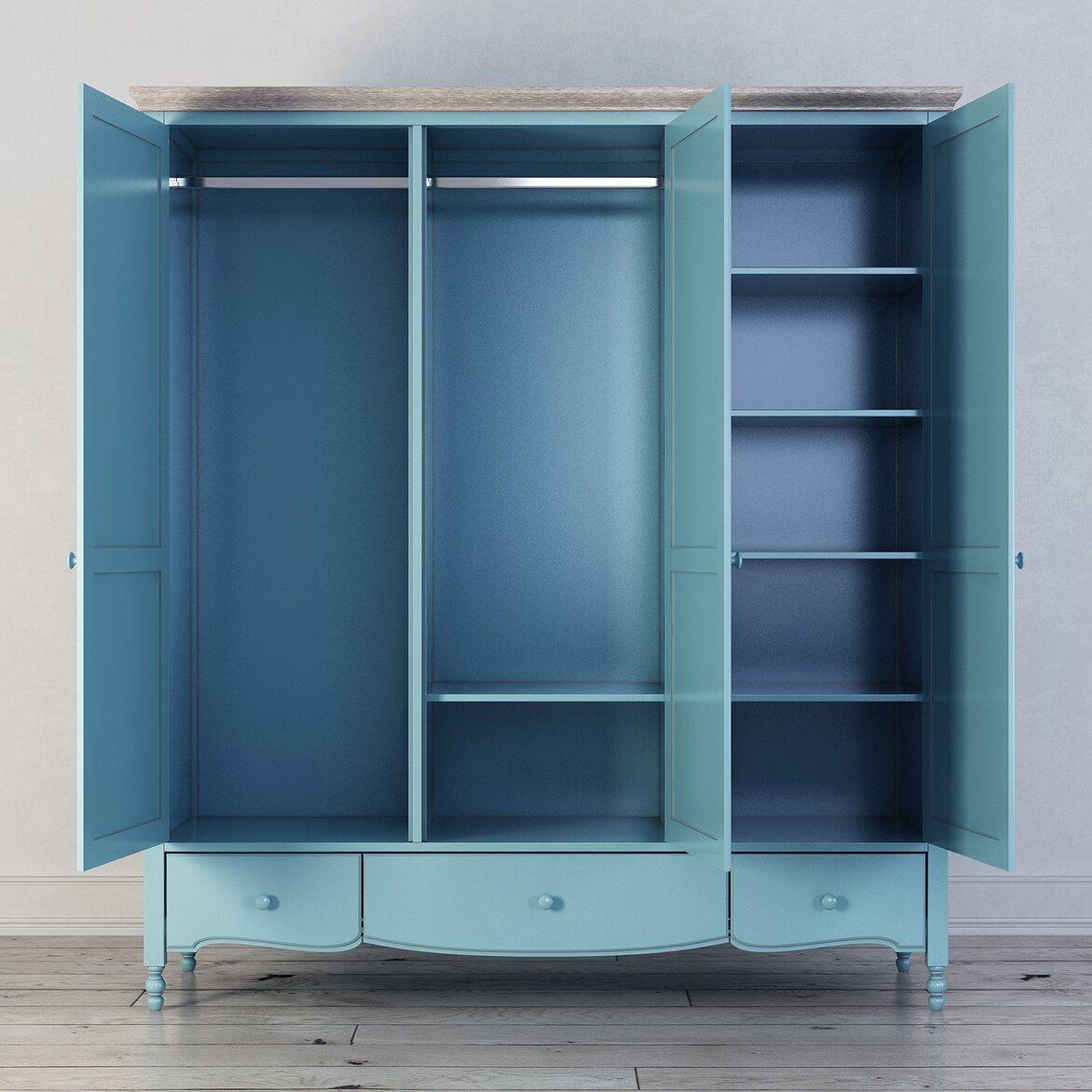Шкаф трехстворчатый Leblanc, голубой 2   Платяные шкафы Kingsby