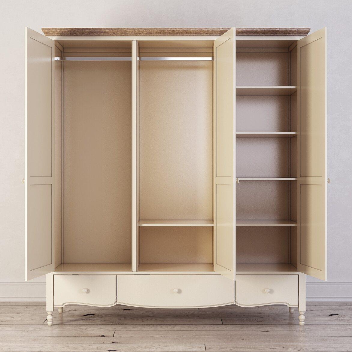 Шкаф трехстворчатый Leblanc, бежевый 2 | Платяные шкафы Kingsby