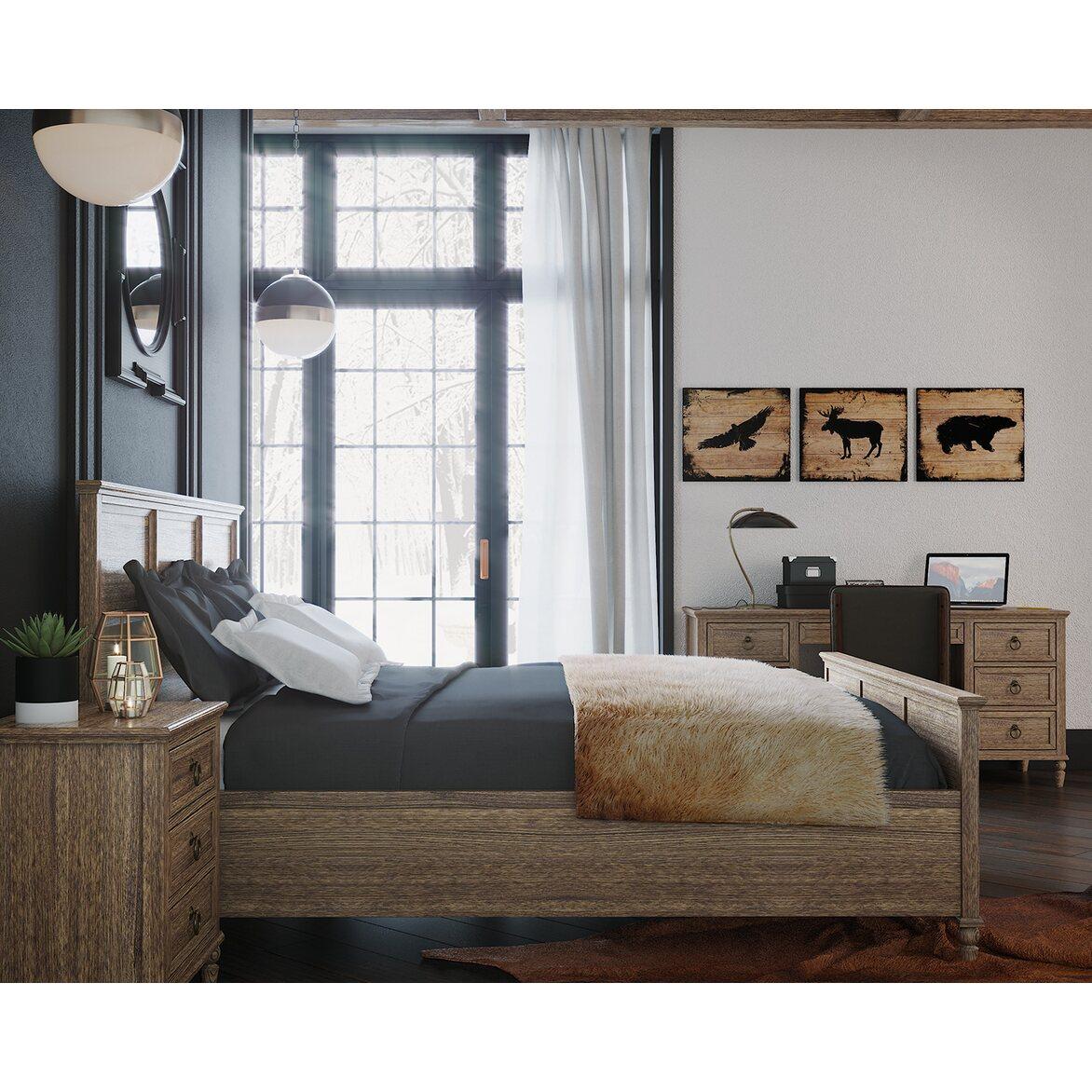 Кровать Vilton дуб, с изножьем 5 | Двуспальные кровати Kingsby