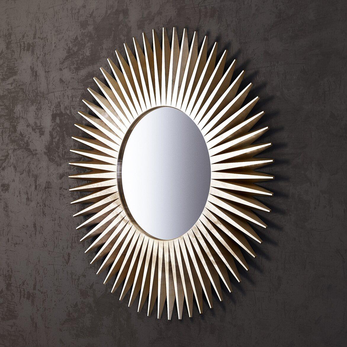Зеркало-солнце Rays, золотое 2 | Настенные зеркала Kingsby