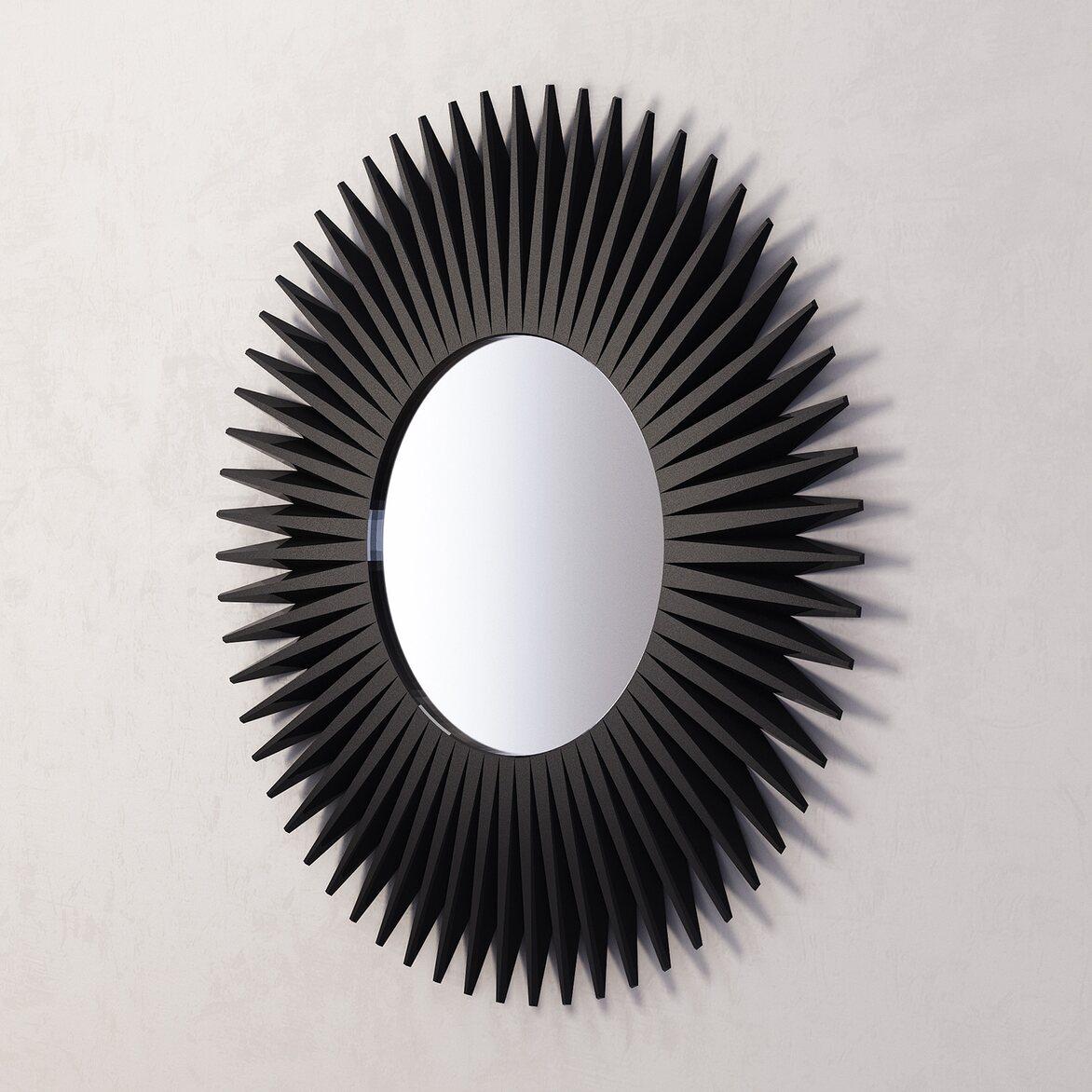 Зеркало-солнце Rays, черное 2 | Настенные зеркала Kingsby