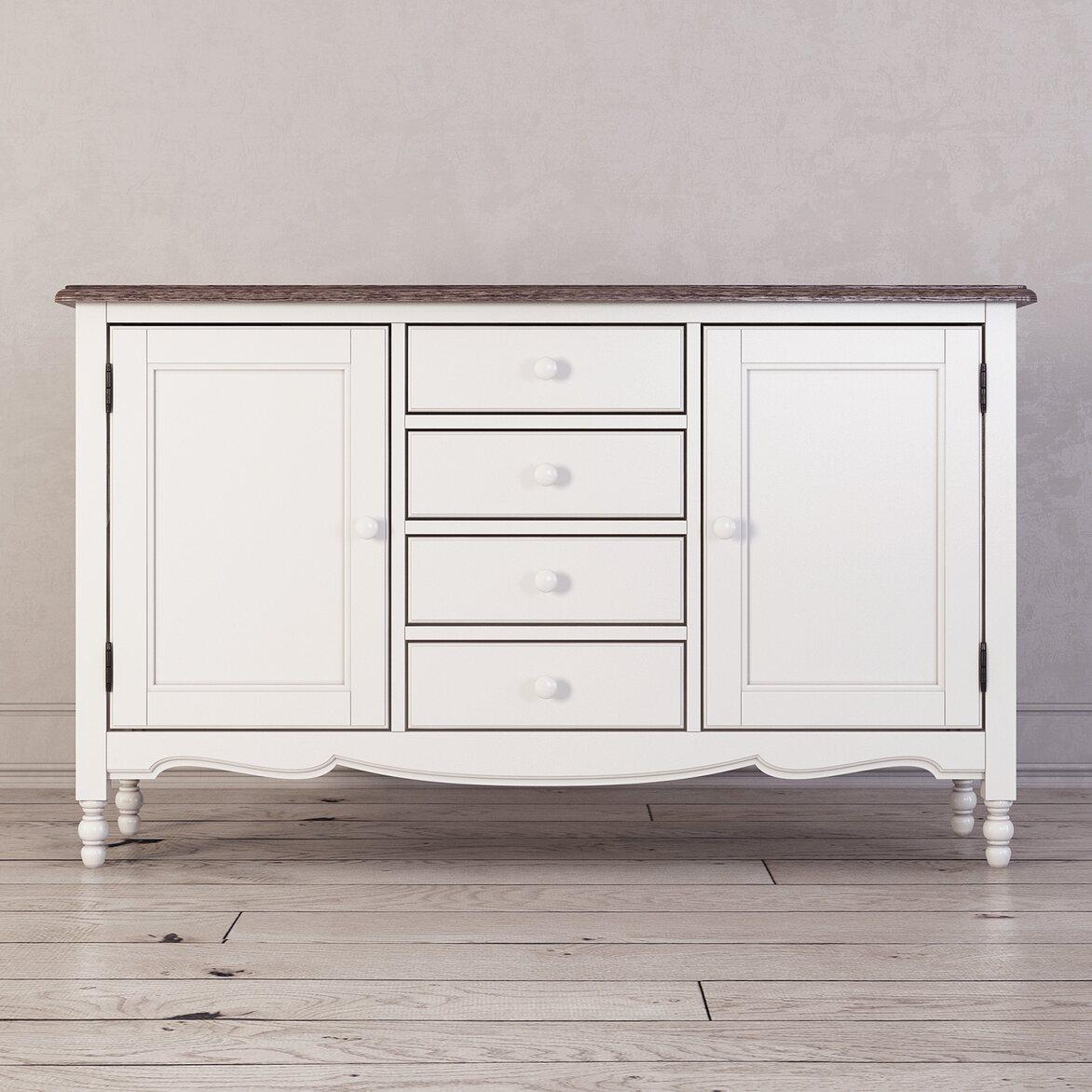 Буфет двухстворчатый с 4-я ящиками Leblanc, белый | Буфеты Kingsby