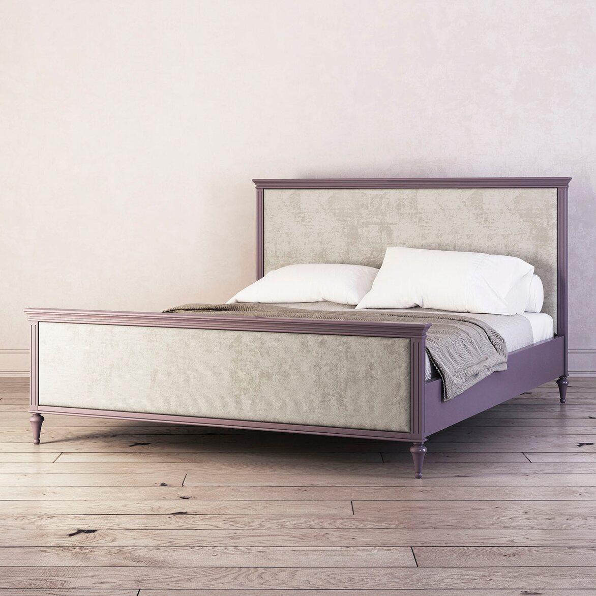 Кровать с мягким изголовьем 180*200 Riverdi, орхидея, с изножьем 2   Двуспальные кровати Kingsby