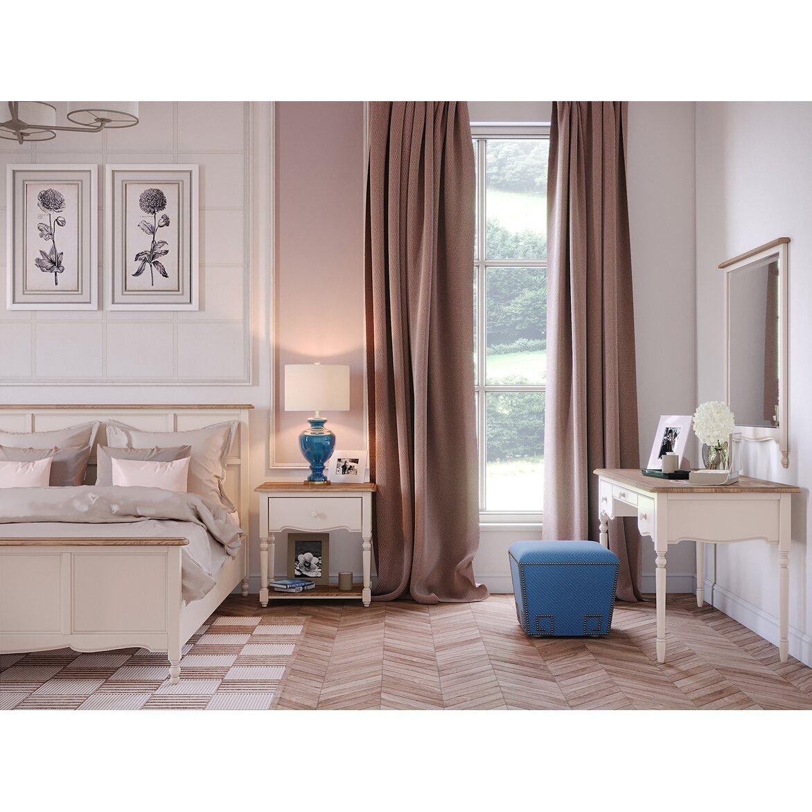 Кровать Leblanc бежевая, с изножьем 2   Двуспальные кровати Kingsby