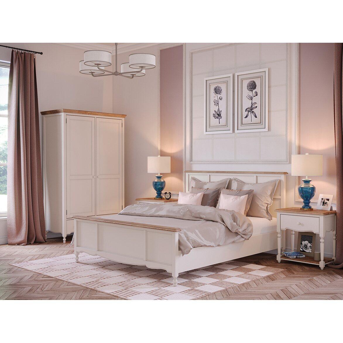 Кровать Leblanc бежевая, с изножьем 3   Двуспальные кровати Kingsby