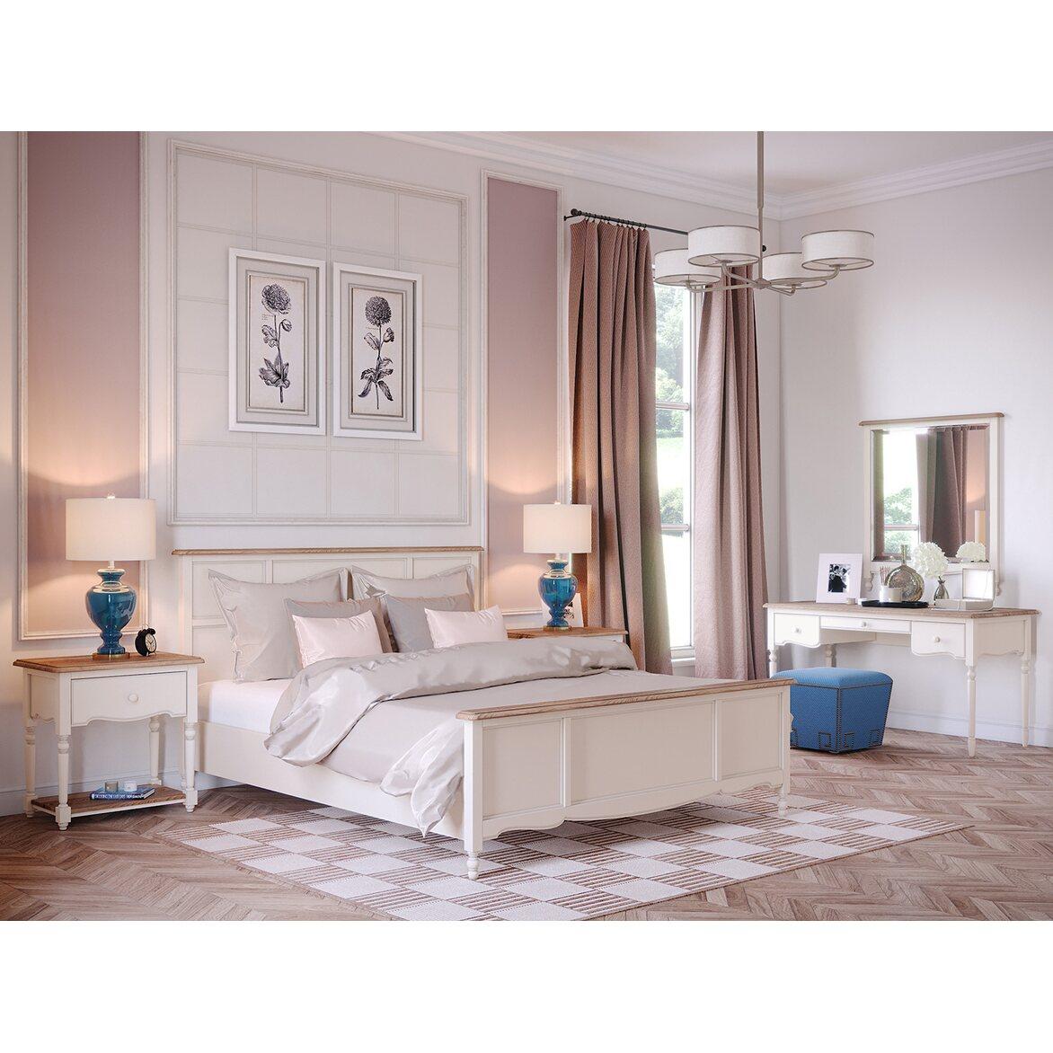 Кровать Leblanc бежевая, с изножьем 4   Двуспальные кровати Kingsby
