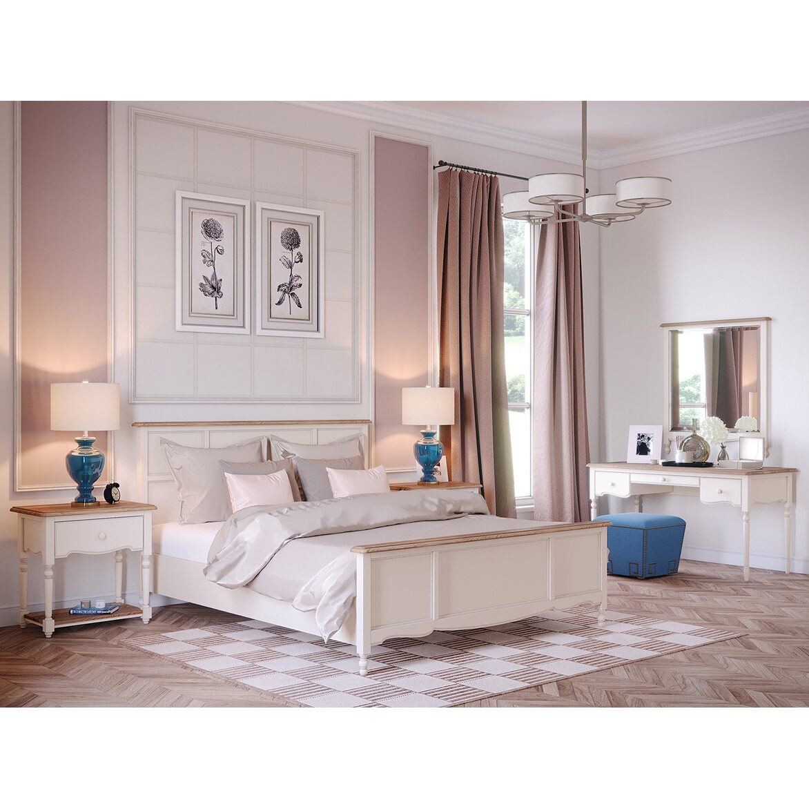 Кровать Leblanc, двуспальная, бежевая 5 | Двуспальные кровати Kingsby