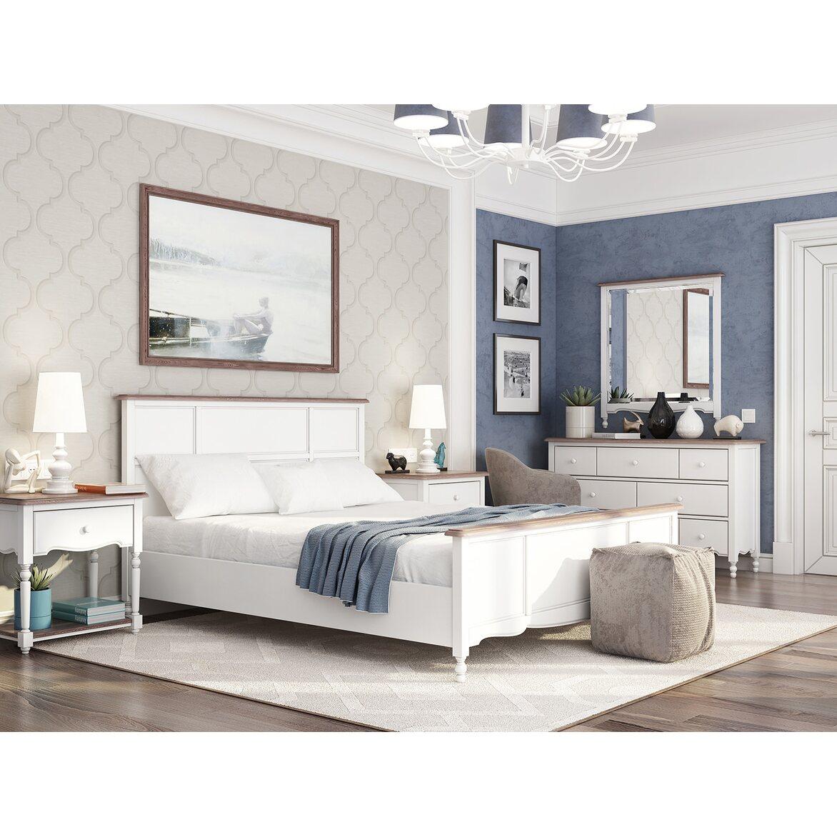 Кровать Leblanc белая, с изножьем 3 | Двуспальные кровати Kingsby