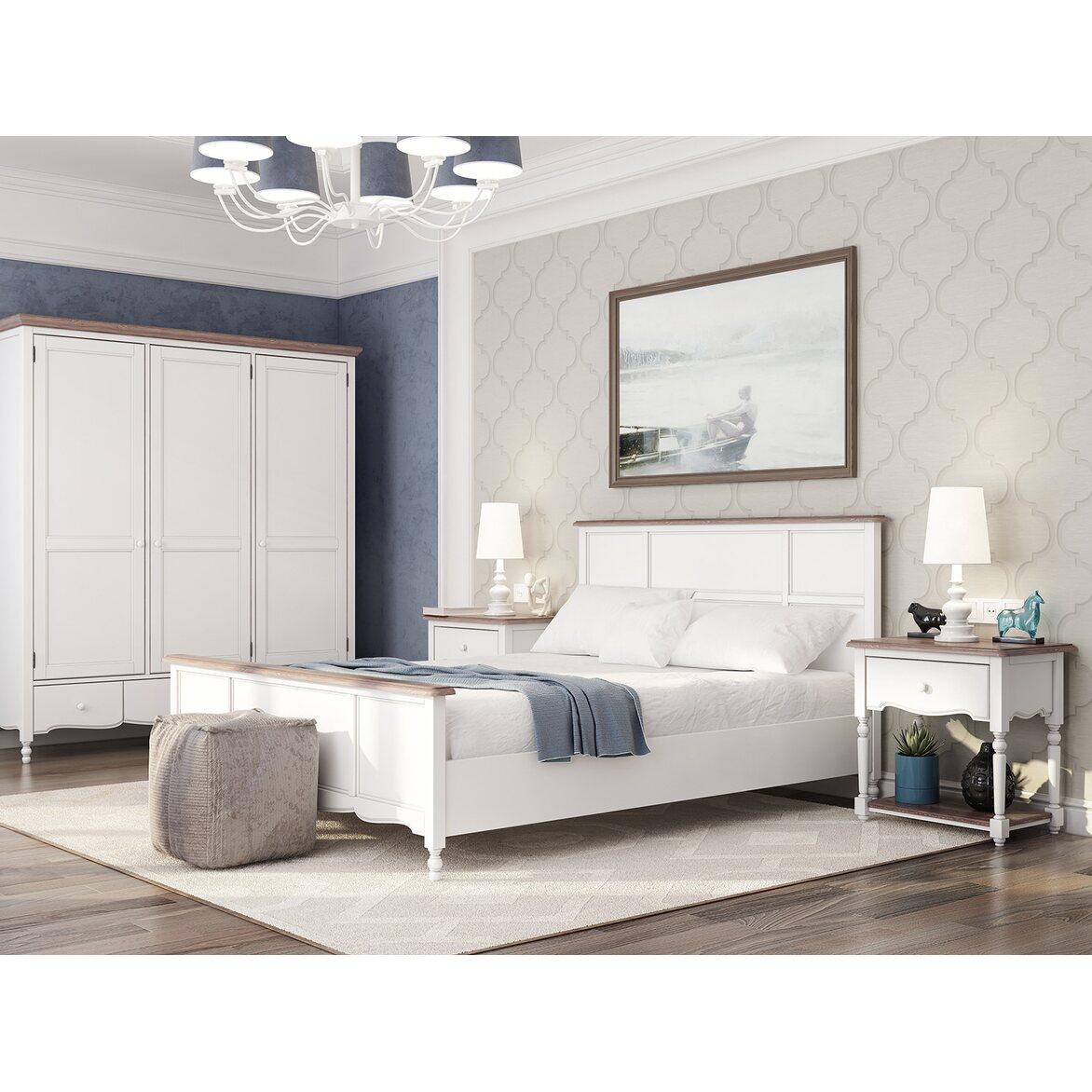 Кровать Leblanc белая, с изножьем 4 | Двуспальные кровати Kingsby