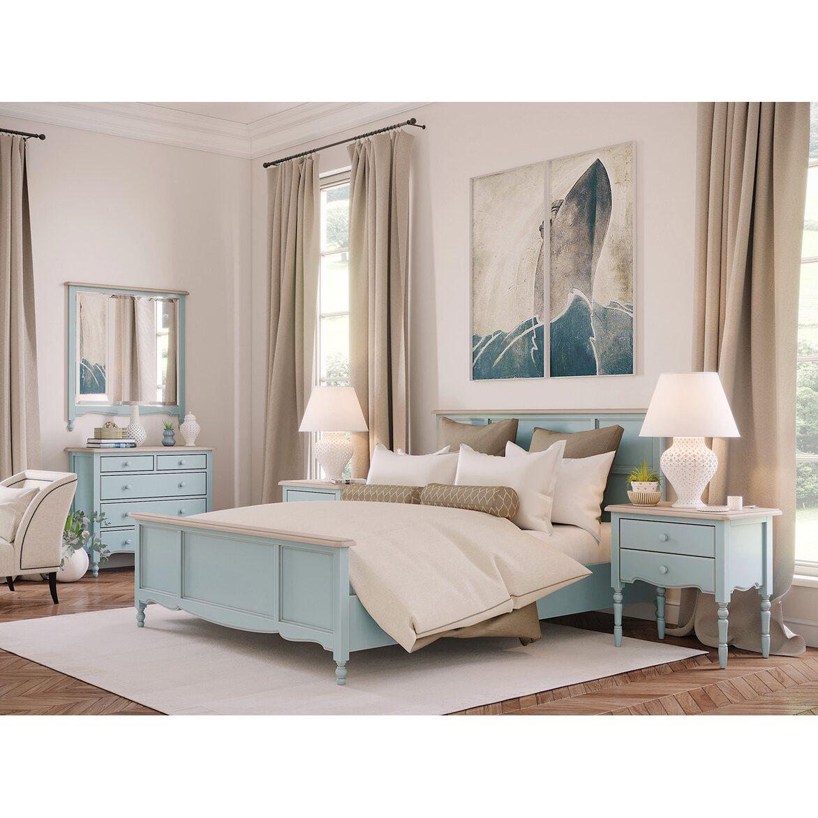 Кровать Leblanc голубая, с изножьем 2 | Двуспальные кровати Kingsby