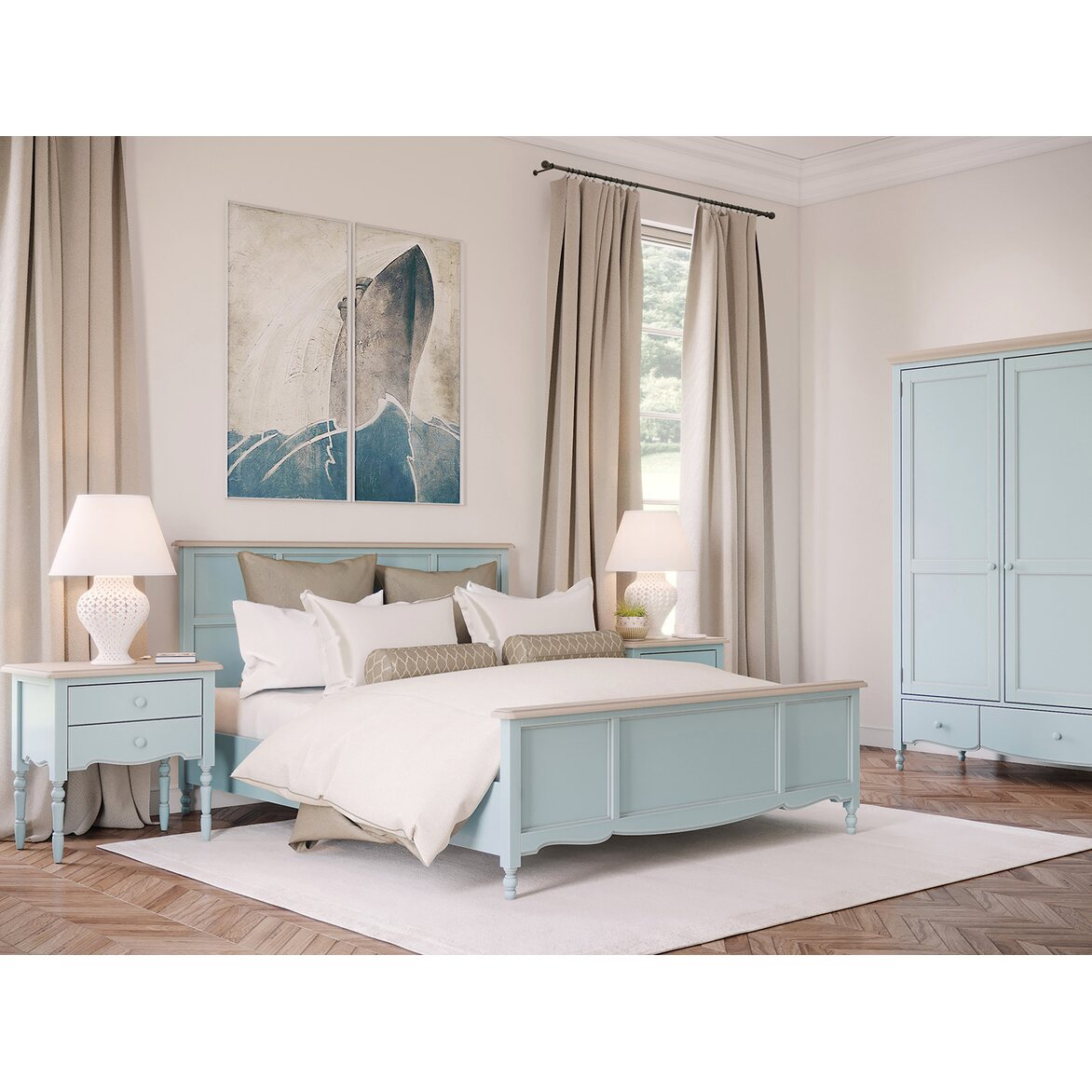 Кровать Leblanc голубая, с изножьем 3 | Двуспальные кровати Kingsby