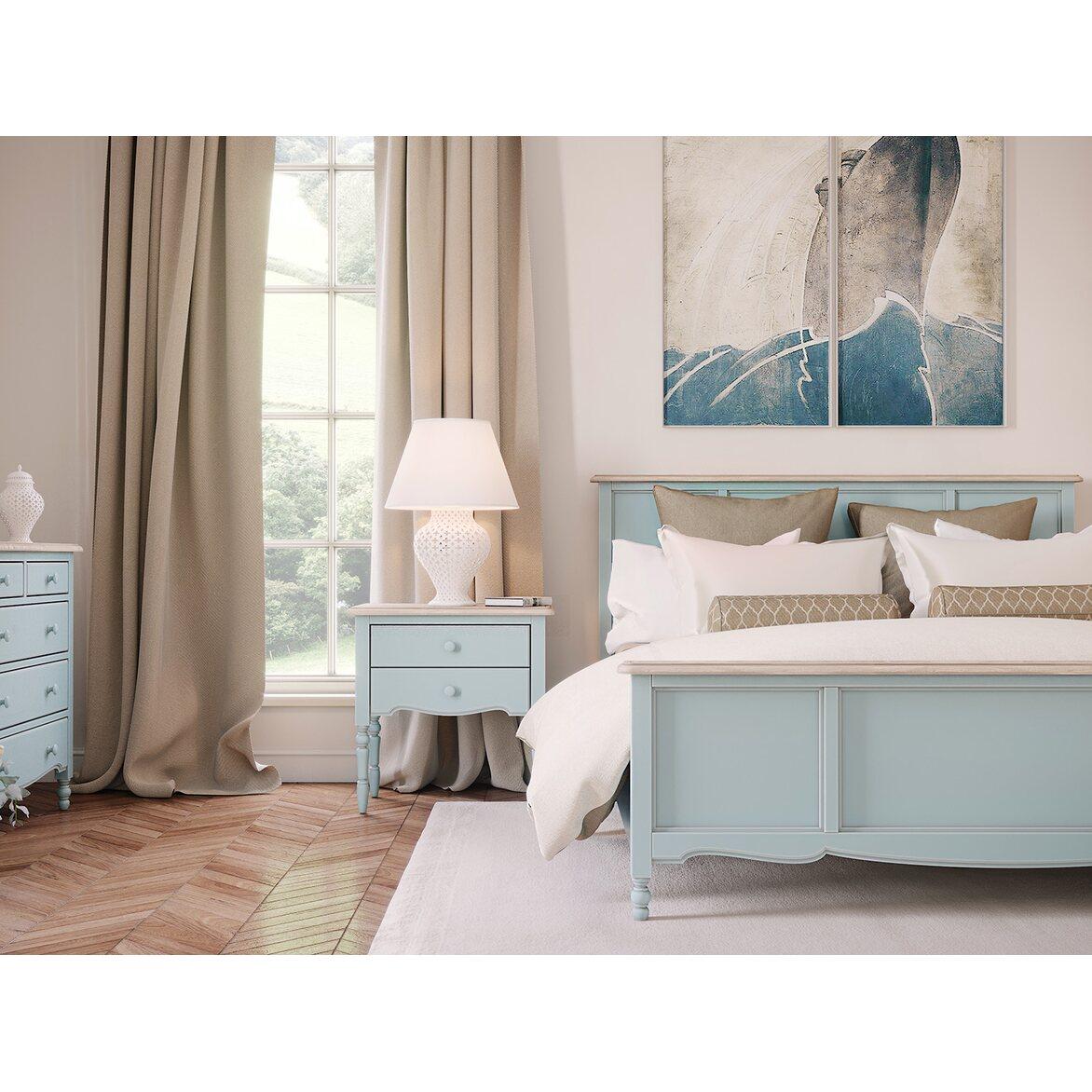 Кровать Leblanc двуспальная, голубая 5 | Двуспальные кровати Kingsby