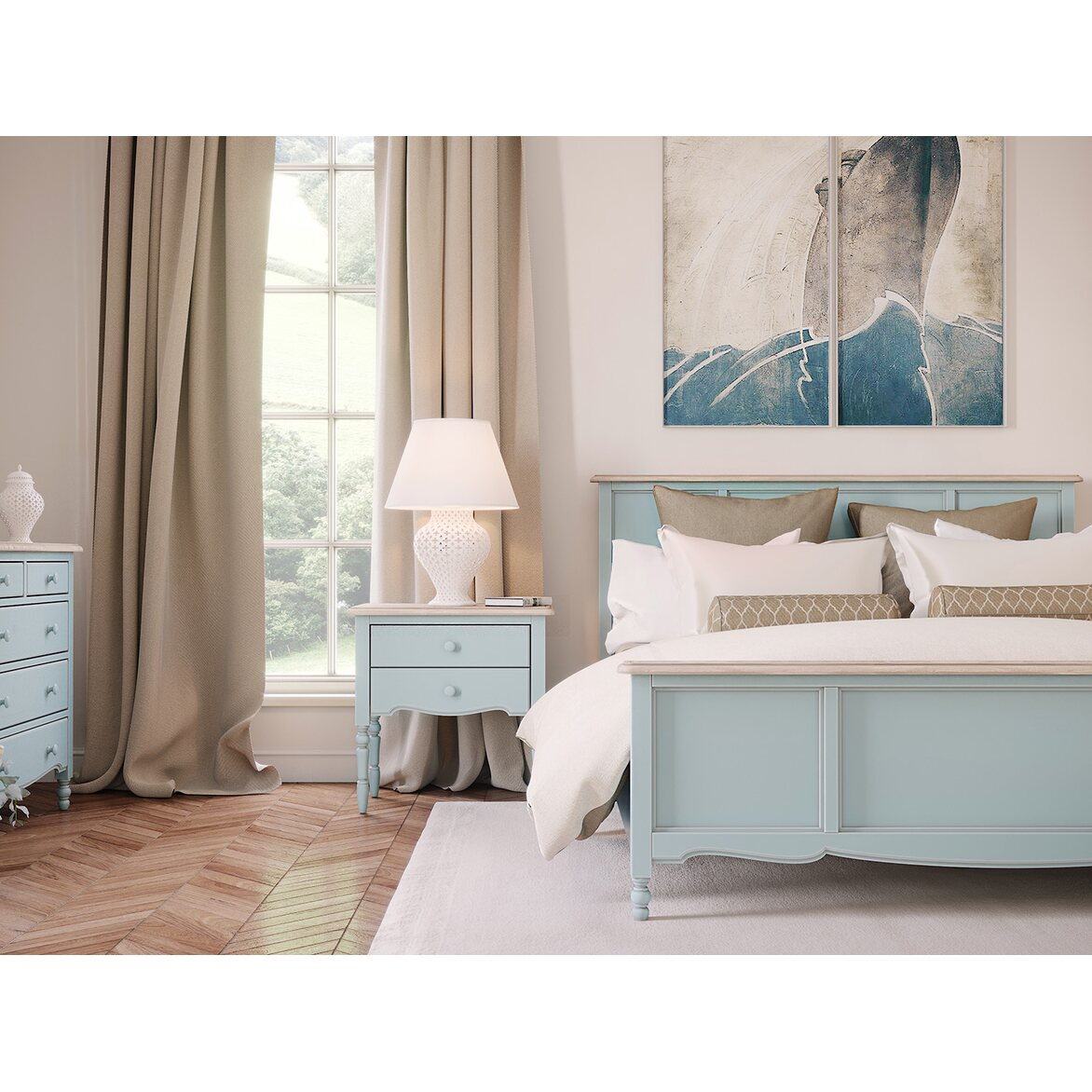 Буфет двухстворчатый с 4-я ящиками Leblanc, голубой 4 | Буфеты Kingsby
