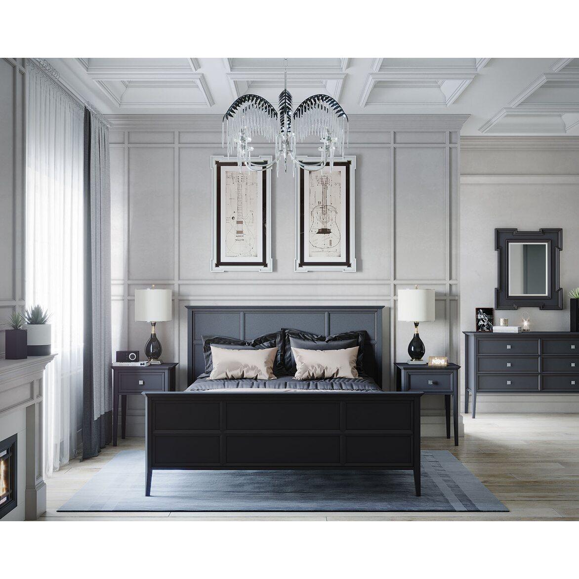 Кровать Ellington черная, с изножьем 3 | Двуспальные кровати Kingsby