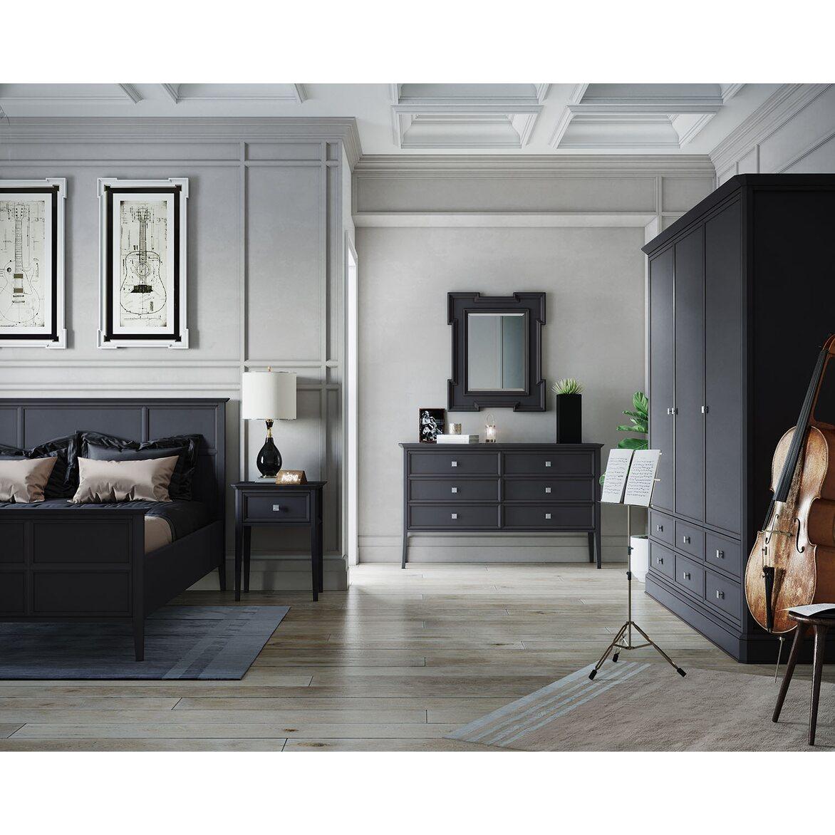 Шкаф трехстворчатый с ящиками Ellington, черный 4 | Платяные шкафы Kingsby
