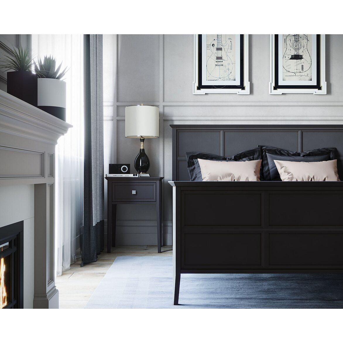 Кровать Ellington черная, с изножьем 5 | Двуспальные кровати Kingsby