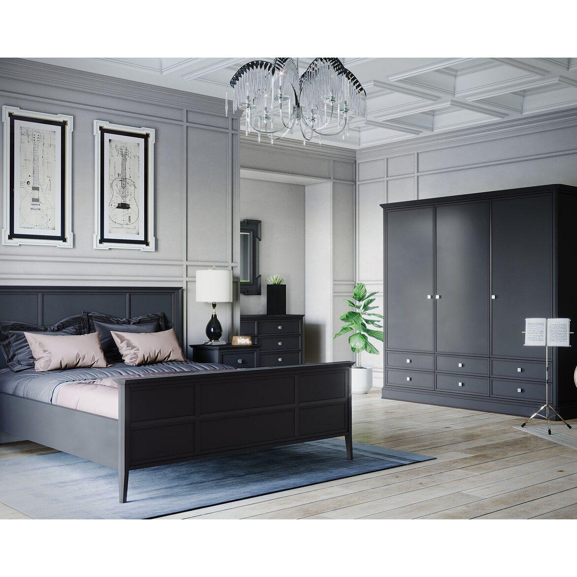 Шкаф трехстворчатый с ящиками Ellington, черный 6 | Платяные шкафы Kingsby