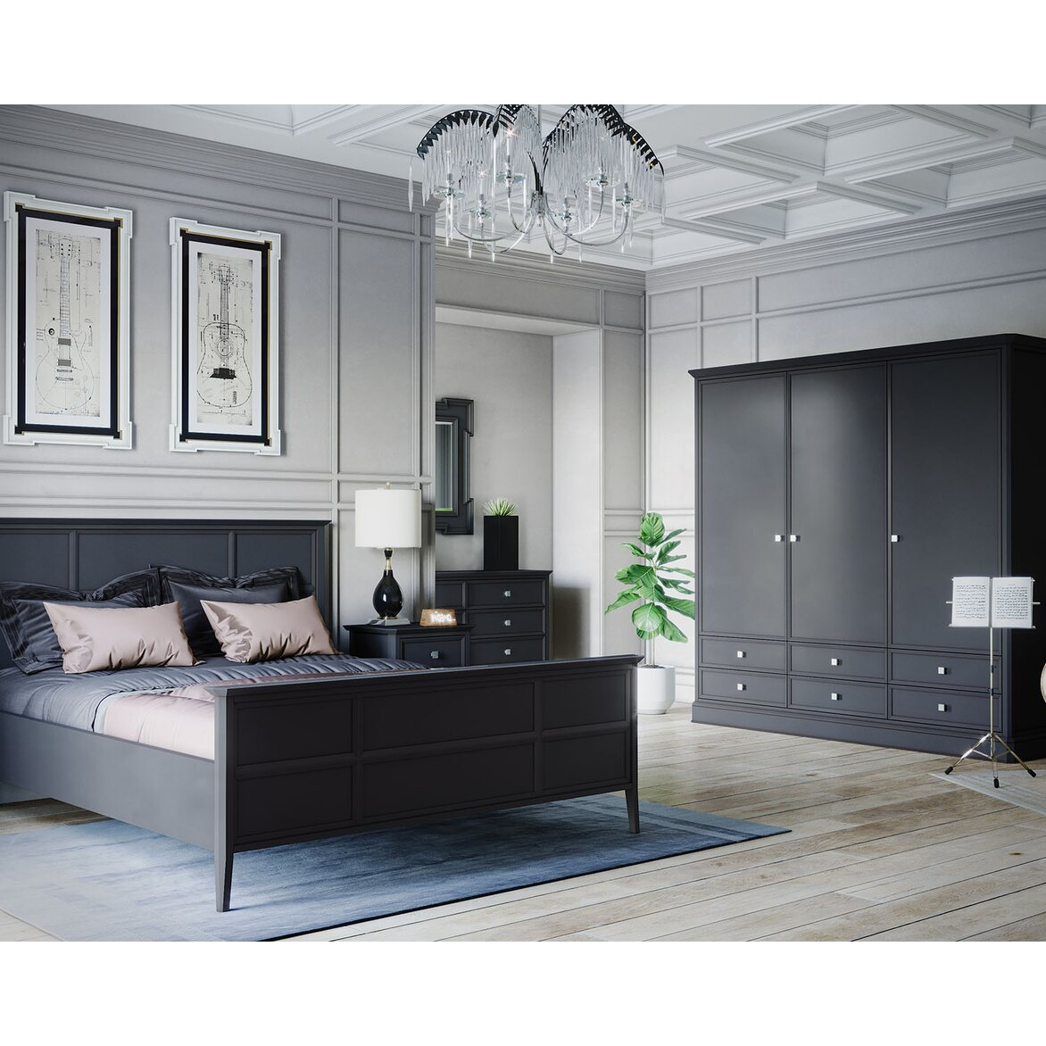 Кровать Ellington черная, с изножьем 6 | Двуспальные кровати Kingsby