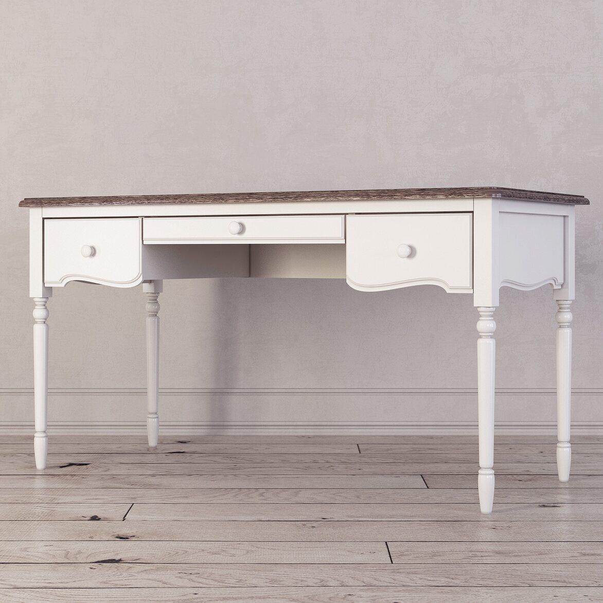 Письменный стол с 3-я ящиками Leblanc, белый 2 | Письменные столы Kingsby