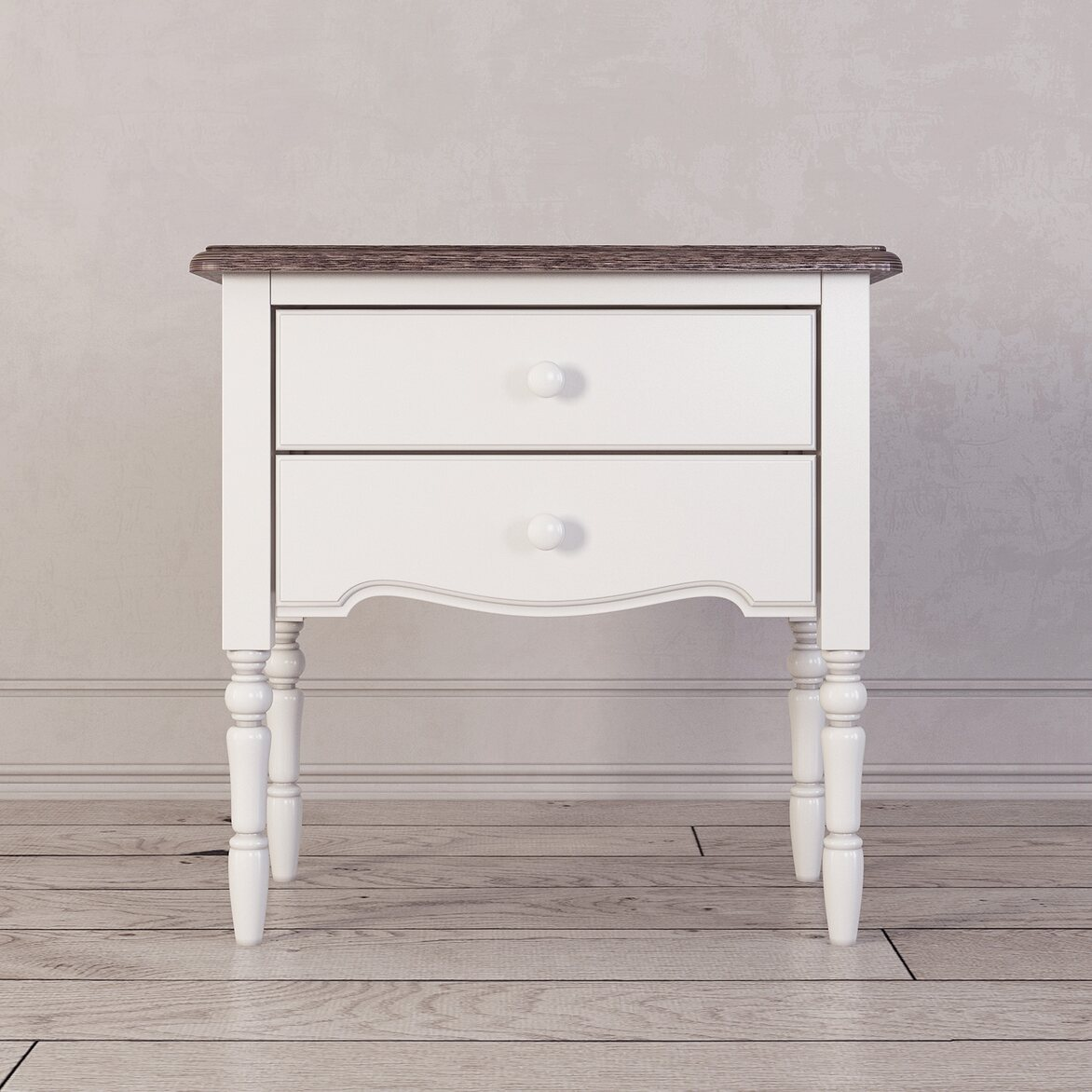 Прикроватная тумба с 2-я ящикaми Leblanc, белая | Прикроватные тумбы Kingsby