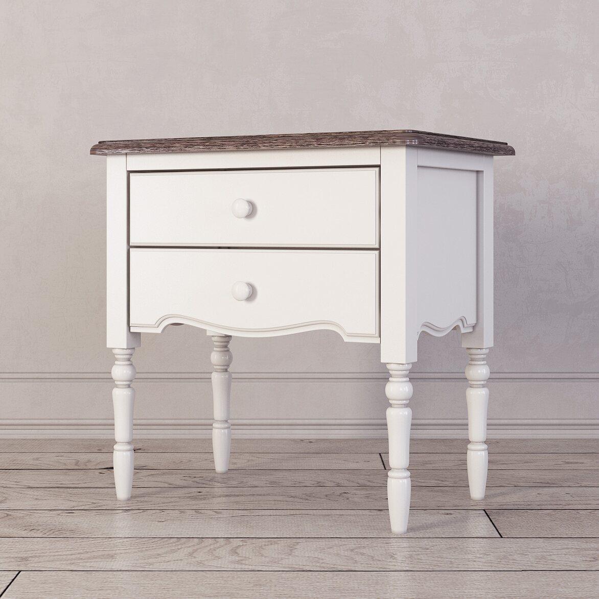 Прикроватная тумба с 2-я ящикaми Leblanc, белая 2 | Прикроватные тумбы Kingsby