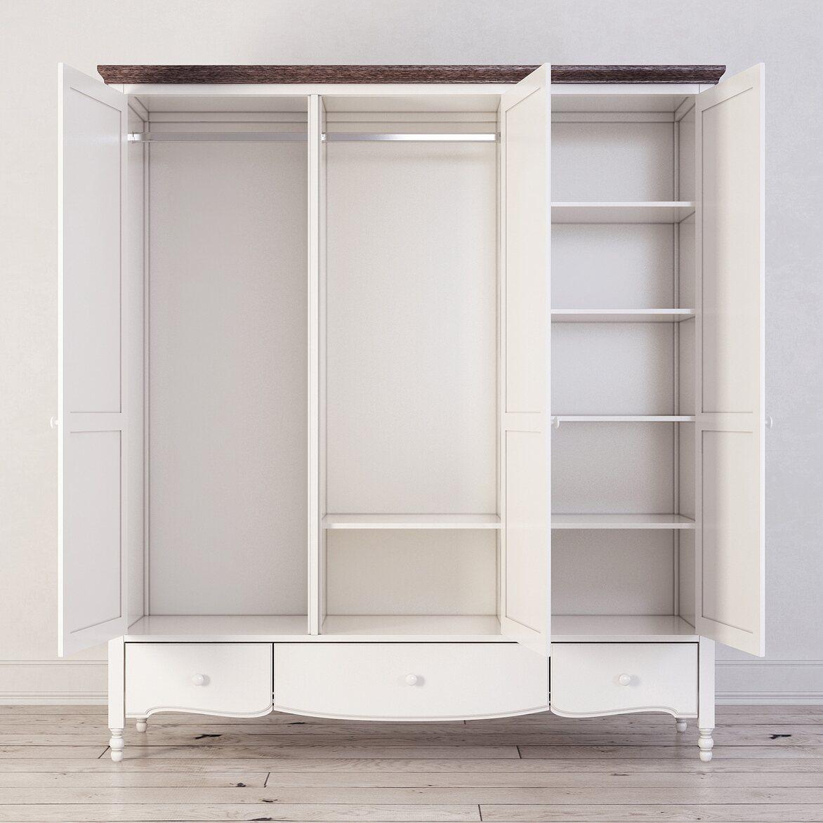 Шкаф трехстворчатый Leblanc, белый 3 | Платяные шкафы Kingsby