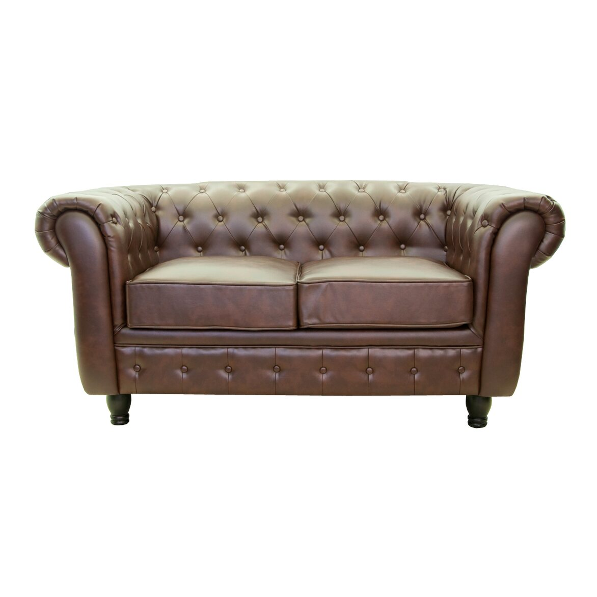 Кожаный диван двухместный Chesterfield brown 2S   Прямые диваны Kingsby
