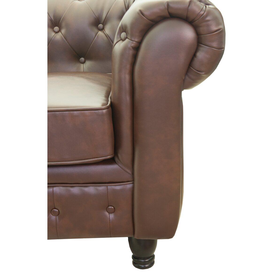 Кожаный трехместный диван Chesterfield brown 3S 2 | Прямые диваны Kingsby