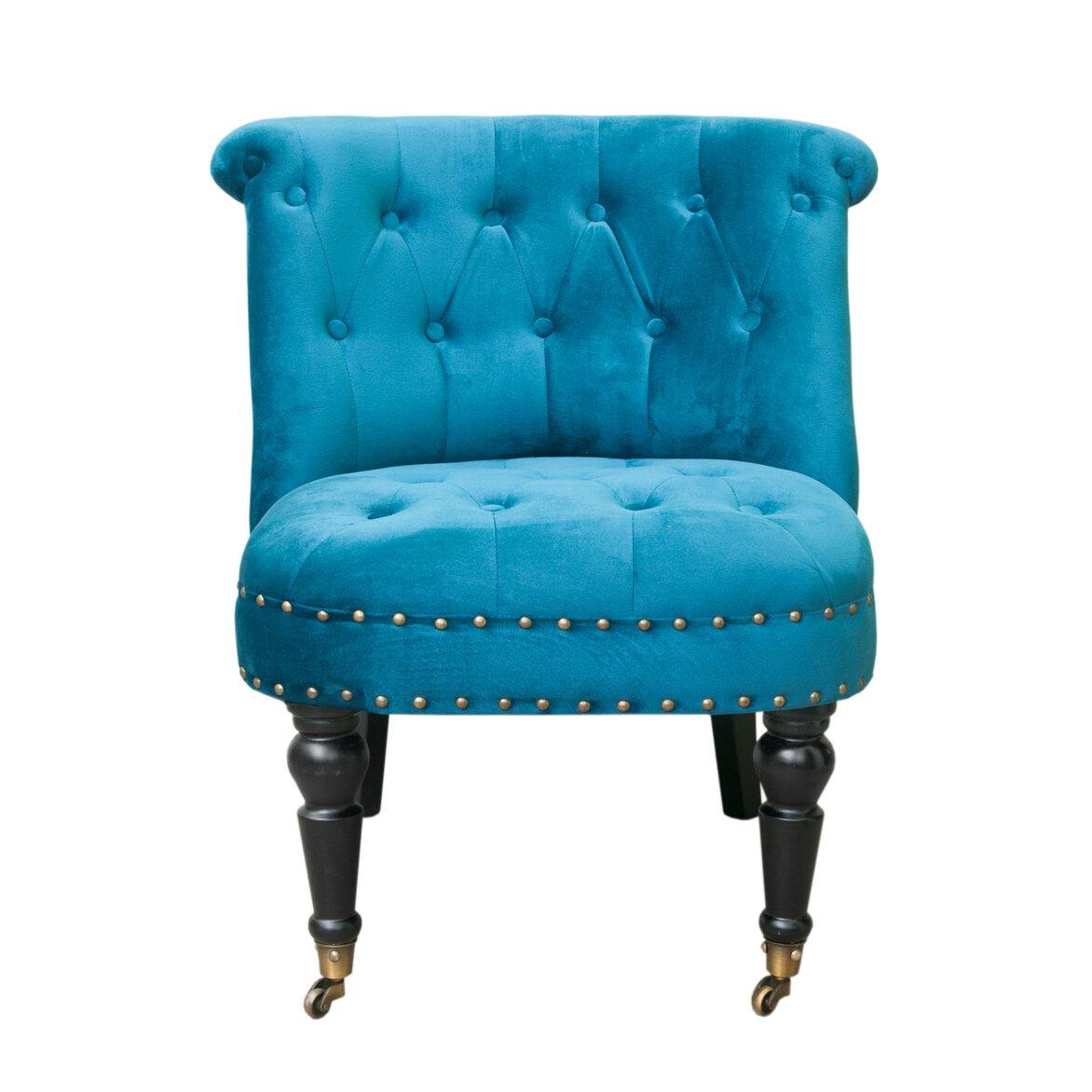 Низкое кресло Aviana Blue Velvet | Маленькие кресла Kingsby