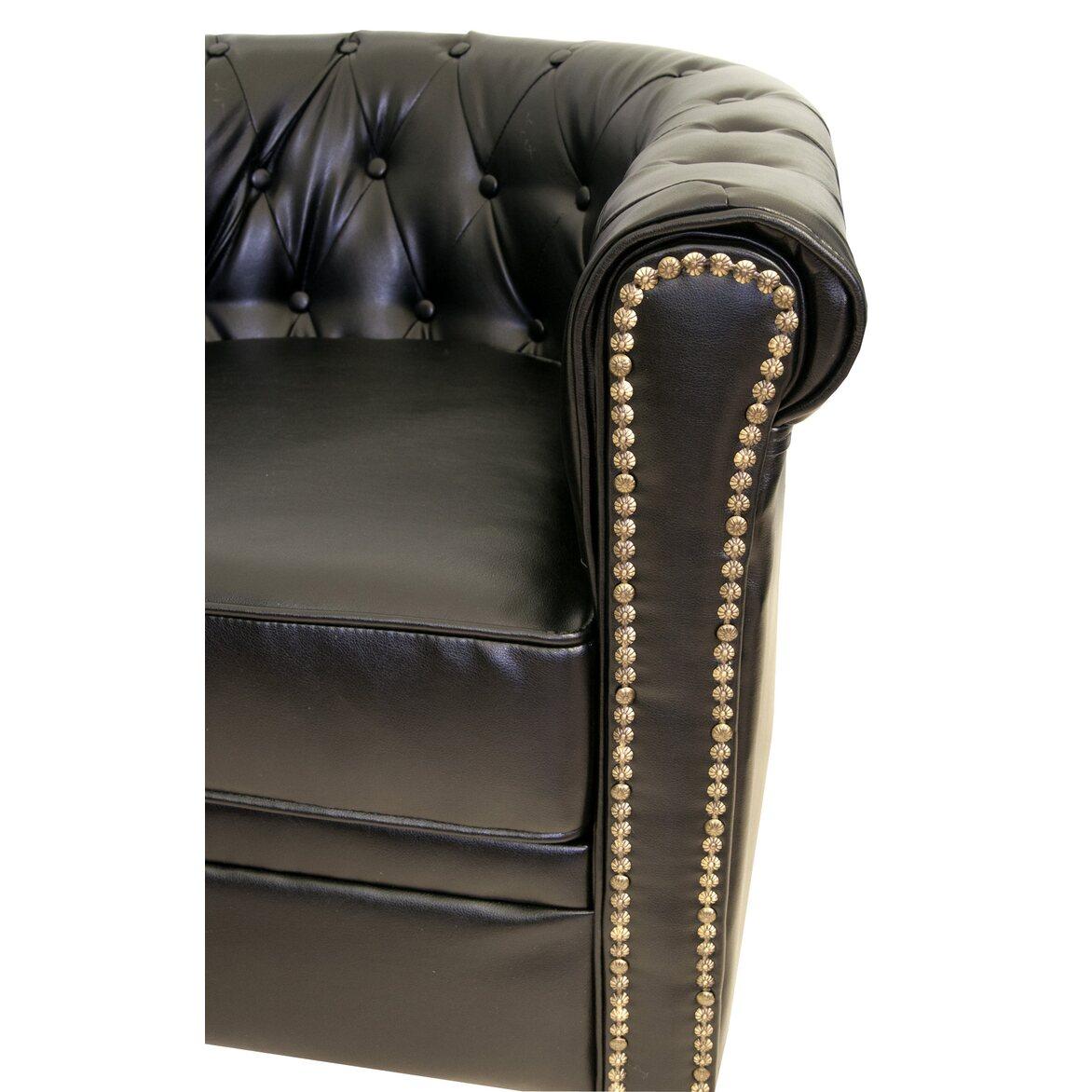 Кожаный двухместный диван Karo black 2S 3 | Прямые диваны Kingsby