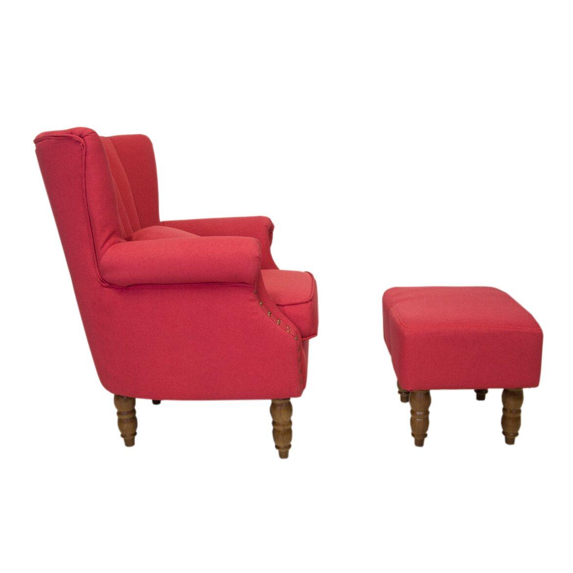 Кресло с пуфом Lab red 3 | Каминные кресла Kingsby