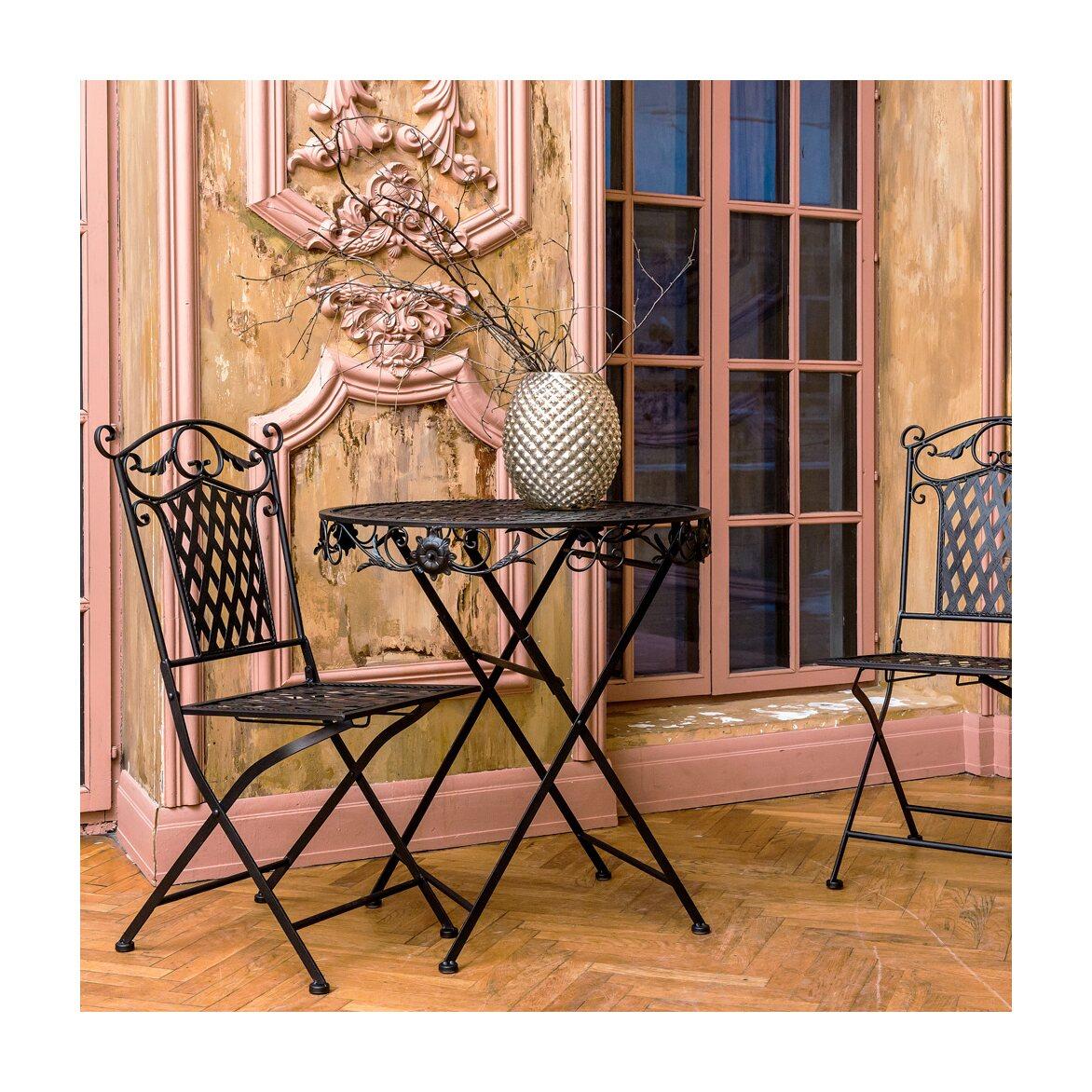 Складной столик для завтрака «Ницца» (черный антик) 2 | Кофейные столики Kingsby