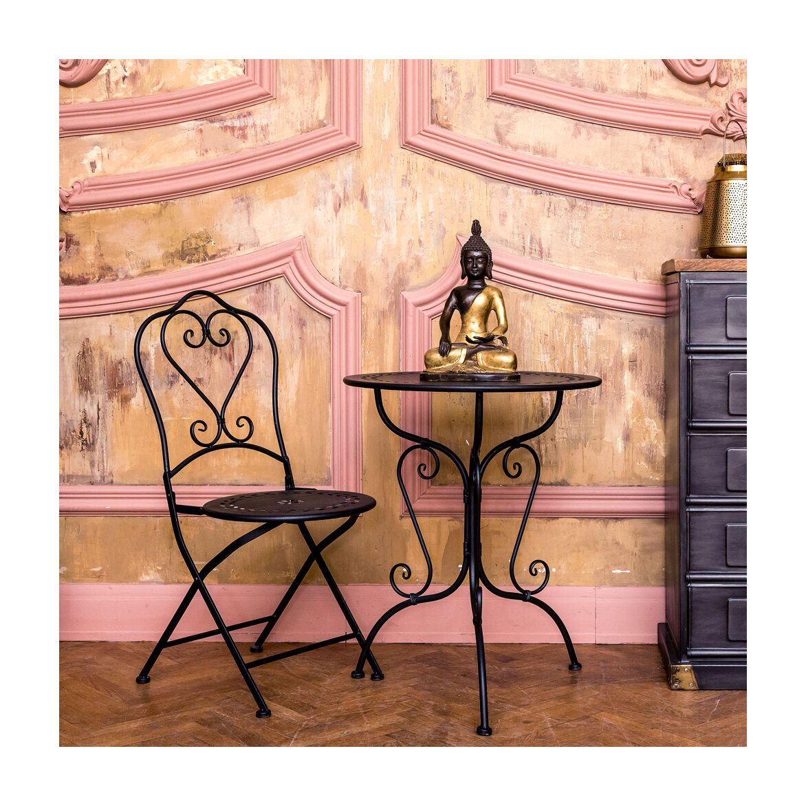 Складной стул «Жарден» (черный антик) 4 | Обеденные стулья Kingsby