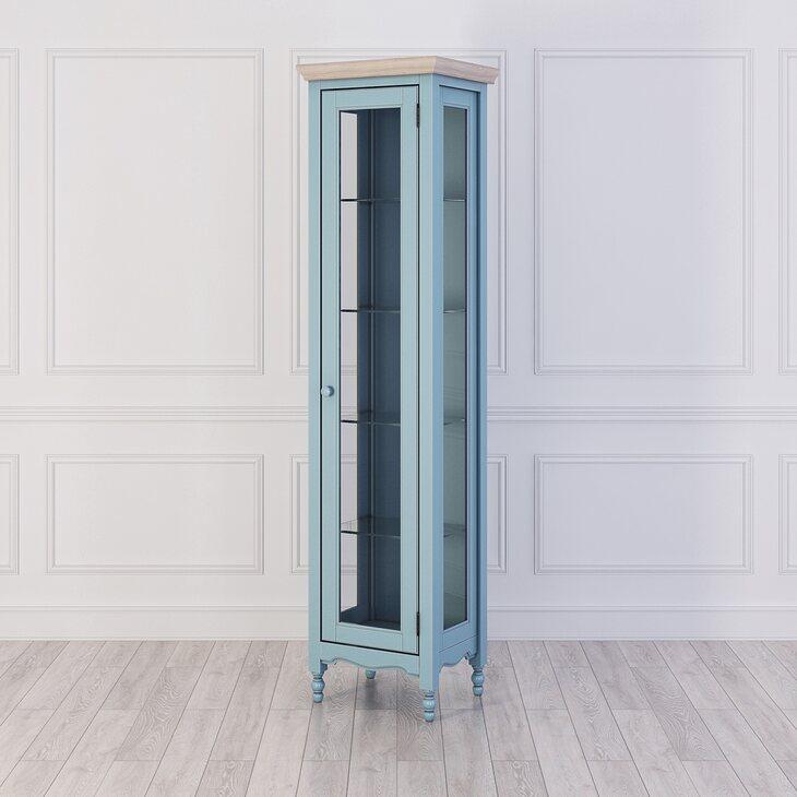 Витрина L левая Leblanc, голубая | Витрины Kingsby