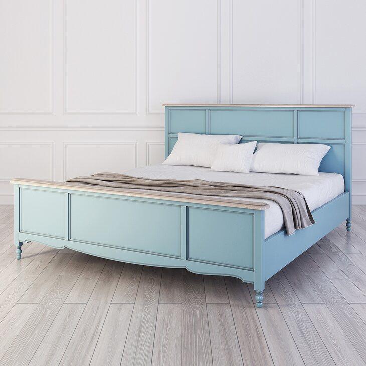 Кровать Leblanc голубая, с изножьем | Двуспальные кровати Kingsby