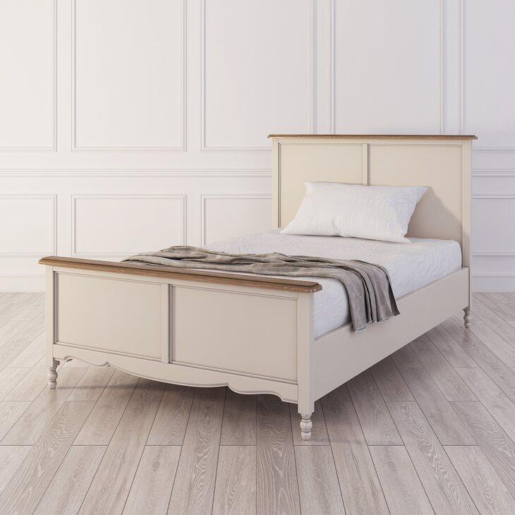 Кровать односпальная 120*200 Leblanc, бежевая | Односпальные кровати Kingsby