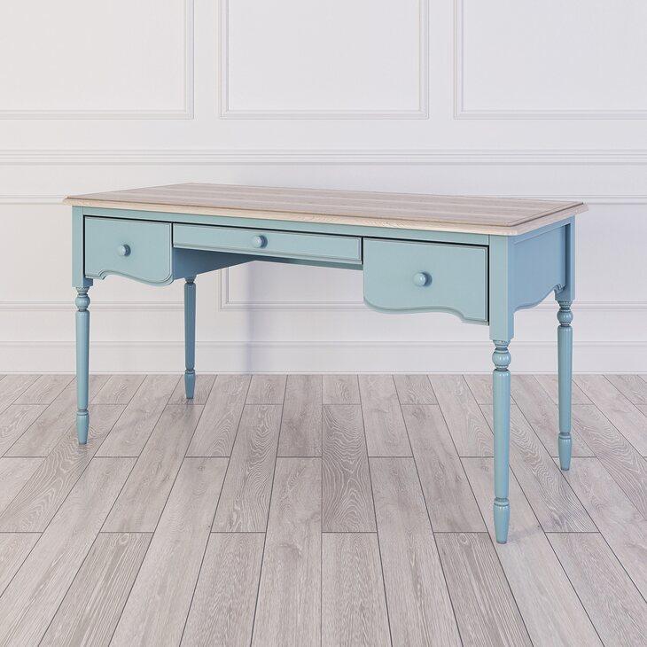 Письменный стол с 3-я ящиками Leblanc, голубой | Письменные столы Kingsby