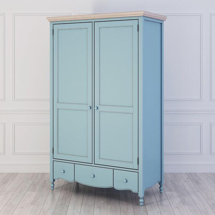 Шкаф двухстворчатый Leblanc, голубой | Платяные шкафы Kingsby