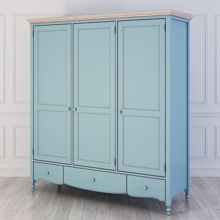 Шкаф трехстворчатый Leblanc, голубой | Платяные шкафы Kingsby